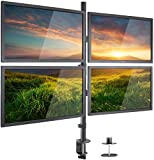DazzelOn Quad LED LCD Monitor Desk Mount Adjustable Stand Holder Heavy Duty for 4 Screens 14'-26' | Height Adjustable | Gaming | Trading | Video Editing | Surveillance