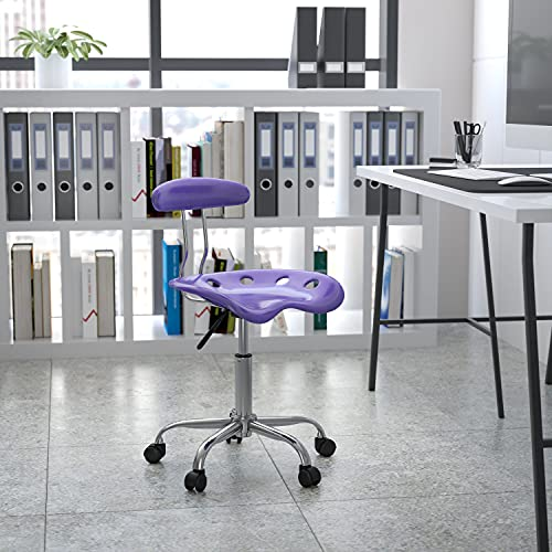 Flash Furniture Vibrant Violet and Chrome Swivel Task Office Chair with Tractor Seat