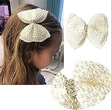 قوس شعر إيفيفو الأبيض بأحجار الراين للبنات مع مشبك شعر من التمساح ومقبض شعر للأطفال الصغار والمراهقين والأطفال (قطعة واحدة)