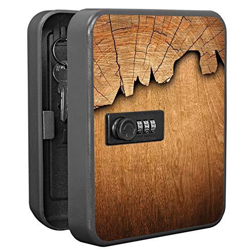 banjado Burg-Wächter abschließbarer Schlüsselkasten mit Motiv Holz | Schlüsselbox mit Zahlenschloss | für 20 Schlüssel | Stahlblech schwarz 20x16x7,4cm groß