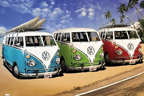 1art1 52985 Autos - VW Bus, Bulli, Strand Poster 91 x 61 cm