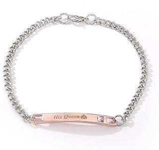 هدية للعشاق الملكة لها الملك الملك الملك الفولاذ المقاوم للصدأ زوجين أساور للنساء الرجال مجوهرات مطابقة