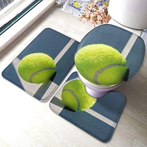 Juego de 3 alfombrillas antideslizantes para baño con diseño de béisbol en el suelo + alfombrilla de contorno en U + tapa de inodoro 40 x 60 cm