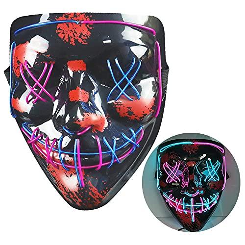 NIWWIN Máscara LED de Halloween, máscara de horror, decoración de Halloween, máscara de color que se puede iluminar, máscara de disfraces especiales, máscara para adultos,Atmósfera de carnaval