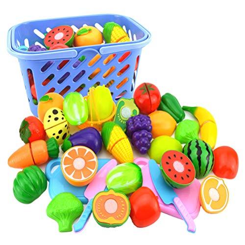 Poapo Cocina de plástico Corta Frutas Juguetes para niños, Juguetes educativos de simulación de Cocina no tóxicos de Seguridad, Juguetes educativos de Regalo para niños, 23 Piezas/Juego