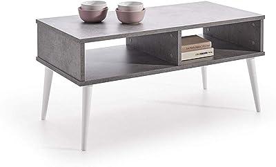 Hogar24-Mesa de Centro diseño Vintage, Acabado Color Gris Cemento y Patas Madera Maciza