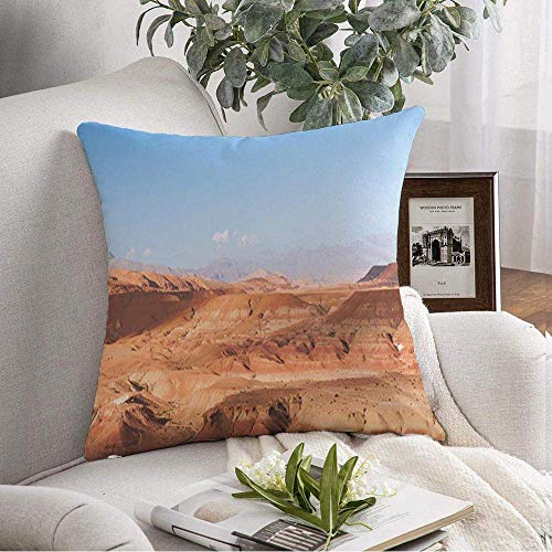 Funda de Almohada Decorativa Cuadrada Paisaje Cerca de Atlas AIT Ben Rock Haddou Desert Canyon South Sahara Naturaleza sobre Parques Vista Exterior Funda de cojín Suave para Dormitorio Sofá Sofá