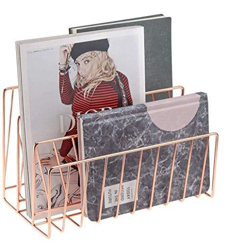 Wythe Vaschetta portacorrispondenza in metallo rosa oro 3 scomparti organizzatore fatto a mano porta documenti in metallo decorativo per buste, documenti, libri (oro rosa, twill)