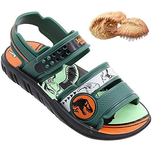 Sandália Jurassic Park Mask Adventure, Grendene Kids, Criança Unissex, Preto/Verde/Laranja, 33/34