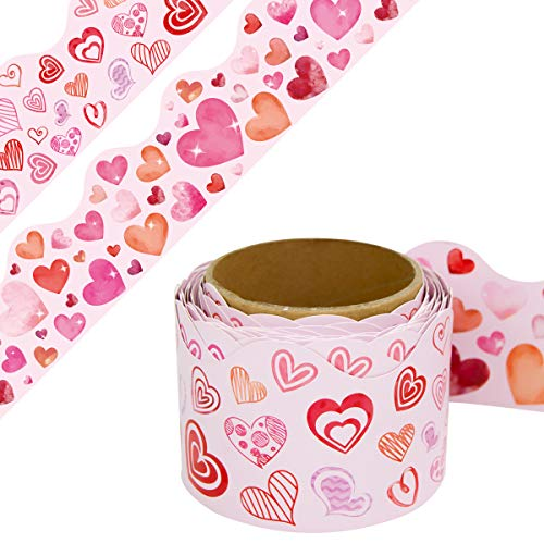 Valentine's Day Bulletin Board Border Scalloped Two Sided Printed Heart Border for Valentine's Day Classroom Decoration 36ft One Roll