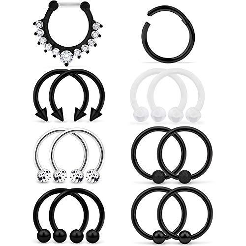 Yaalozei 16G 14PCS 316L Stainless Steel Septum Piercing Nose Rings Hoop Cartilage Tragus Retainer Body Piercing Jewelry 10MM