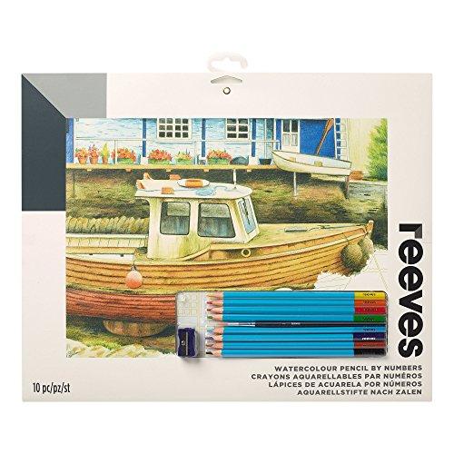 Reeves PPWP9 måla efter siffror med akvarellpennor – motiv: fiskebåt – 8 pennor, 1 pennvässare – 30 x 40 cm