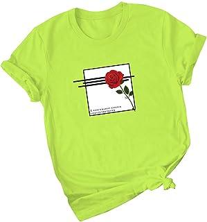 FELZ Camiseta para Mujer Moda Camiseta De Las Mujeres Cuello Redondo Manga Corta Blusas Bolsillo Jersey Tallas Grandes Cas...