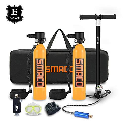 SMACO 2 * Aktualisierte Version Sauerstoffflasche 700ml tragbares kleines leichtes Luftfahrtaluminiummaterial 8-14 Minuten, Handpumpe Tragbare PCP Luftpumpe.