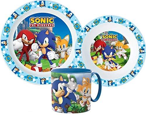 Sonic The Hedgehog Kinder-Geschirr Set mit Teller, Müslischale und Tasse