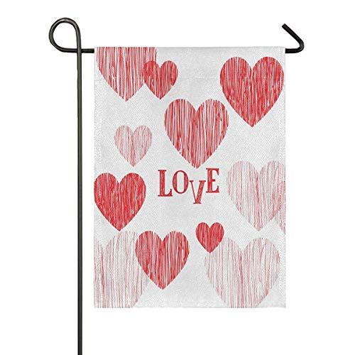 lovely baby-Z Glückwunschkarte zum Valentinstag, Sackleinen, Gartenflagge, doppelseitig, Hausflagge, Urlaub, saisonal, Outdoor-Dekoration, Flagge, 30,5 x 45,7 cm