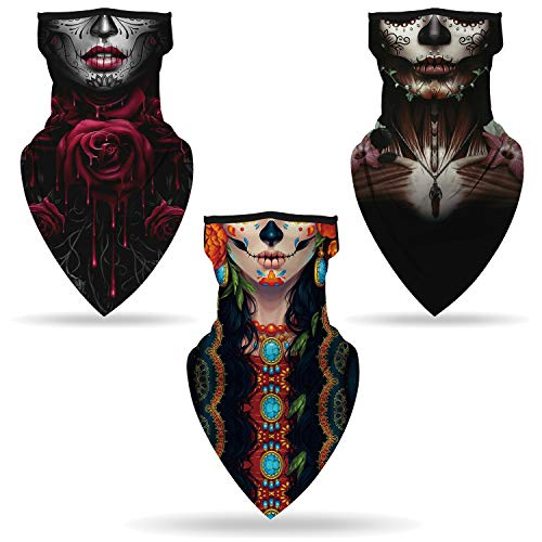 SRVOKOX 3 pcs Skeleton Ghost Zombie Joker Sugar Skull Bandana Neck Gaiter Face Mask Covering Ear Loop Hole Triangle Bandanas for Men Women Summer UV Face Scarf Mask Cover for Fishing
