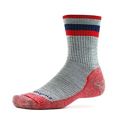 Swiftwick- PURSUIT HIKE SIX LT Hiking Socks, Lightweight, Soft Merino Wool (Heather/Red, Large)