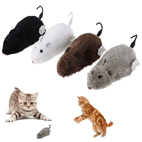 demiawaking 4Unidades Reloj de ratón Juguete para Gato Perro Pet Animales Nette Peluche Rata mecánica Movimiento Ratas
