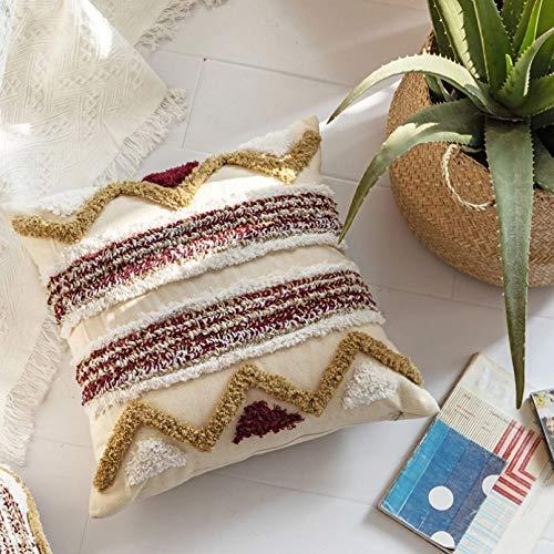 Funda de Almohada Almohada Cuadrada Marruecos Tufting Pillow Nordic Geometric Back Pillows Funda de cojín Funda de Almohada Decoraciones navideñas para la Oficina en casa 45 * 45cm