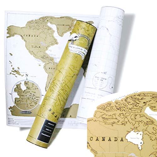 Póster de mapa del mundo para rascar el mapa del mundo, 88 x 52 cm