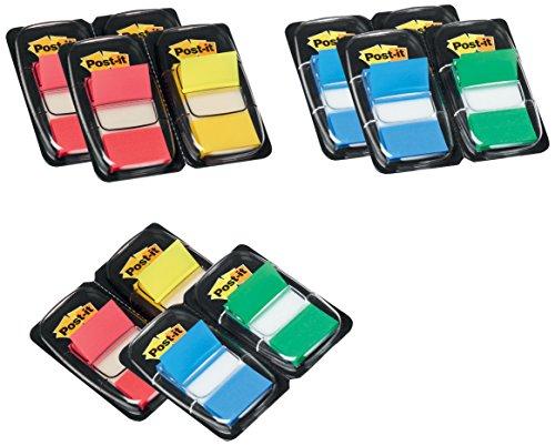 Post-it Haftstreifen Index Promotion 680-P12 – Farbige Haftnotizen in 25,4 x 43,2 mm – 12 Notizblöcke à 50 Blatt in 4 Farben im praktischen Spender