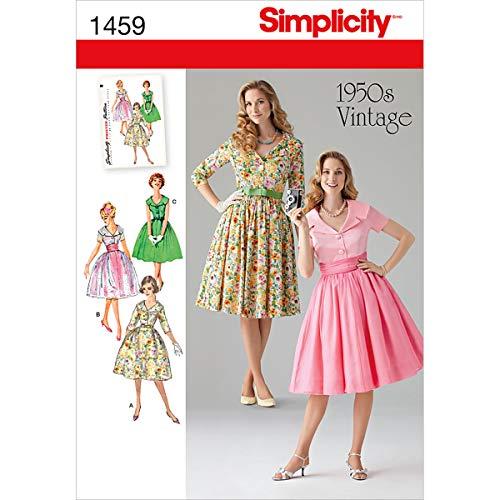 Simplicity 1459 Schnittmuster für Damenkleid im Stil der 50er Jahre, Gr. 44-50