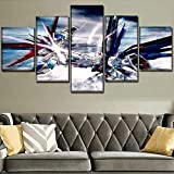 ZhuHZ HD Print Art Artwork Picture decoración del hogar 5 Anime teléfono móvil Set Pintura Wall Art Modular Canvas Poster Frame