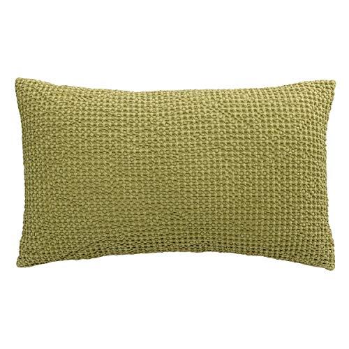 Vivaraise - Coussin Maïa avec garnissage Moelleux – Housse Amovible 100% Coton lavé Stonewash - Taie d'oreiller Lavable – Tissage nid d'abeille