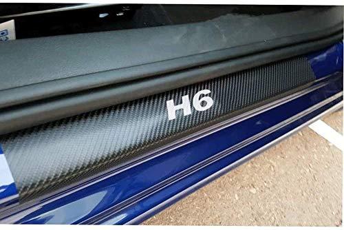 TQGG Türschwellenschutzplatte für Great Wall Haval H6, Kohlefaser Autotürschwellenschutz Willkommen Pedalplattenschutz Autozubehör, 4-TLG