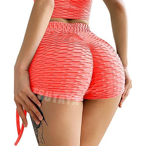 TSUTAYA Butt Lifting Yoga Shorts for Women High Waist Tummy Control Hot Pants Textured Ruched Sports Gym Running Beach Shorts Orange Pink XL