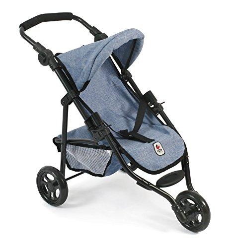 Bayer Chic 2000 612 50 - Jogging Buggy Lola, Kleiner Puppenwagen für Puppen bis 50 cm, Jeans Blue