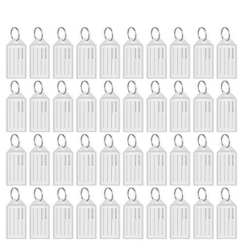 Hotgod - 100 etiquetas de plástico blanco con anillo dividido para ventana, identificación, equipaje, llavero.