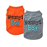 Yikeyo 2-Pack Mommy's Boy Dog Shirt Male Puppy Clothes for Small Dog Boy Chihuahua Yorkies Bulldog Pet Cat Outfits Tshirt Apparel (X-Small, Gray+Orange)