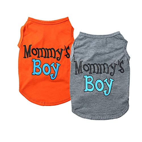 Yikeyo 2-Pack Mommy's Boy Dog Shirt Male Puppy Clothes for Small Dog Boy Chihuahua Yorkies Bulldog Pet Cat Outfits Tshirt Apparel (Large, Gray+Orange)