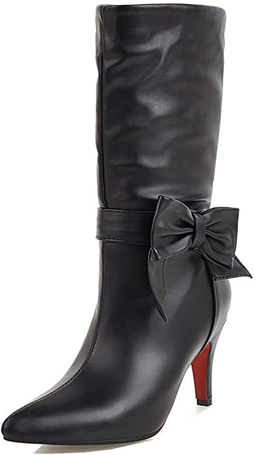 Unm Women's Cute Pointed Toe Pull On Dressy Party Bridal Stiletto High Heel Mid Calf Boots with Bows