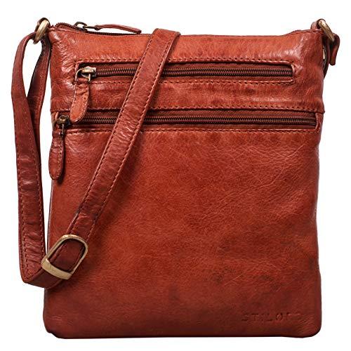 STILORD \'Juna\' Damen Umhängetasche Leder braun Handtasche kleine Schultertasche Vintage Damentasche Ausgehtasche für Freizeit Party 9,7 Zoll Tablet iPad Echtleder, Farbe:Cognac - Used