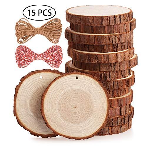Fuyit Holzscheiben 15 Stücke Holz Log Scheiben 10-11cm mit Loch Unvollendete Holzkreise für DIY Handwerk Holz-Scheiben Hochzeit Mittelstücke Weihnachten Dekoration Baumscheibe