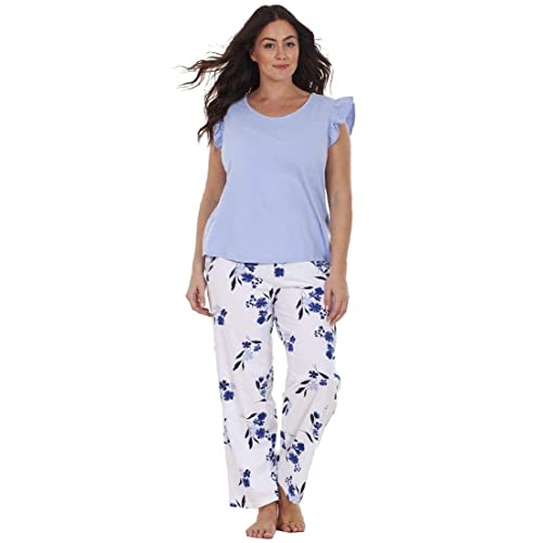 01b1150f9 Ex Highstreet Ladies Plus Size Floral Print Lace Curve PJ Set Short Sleeve  Pyjamas