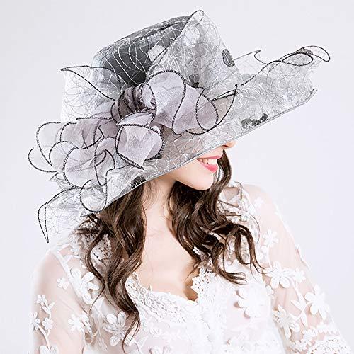 SSeir Frau Fashion Hat, Breiter Rand Sonnenhüte Kreativ Blume Deko-Hut, Sonnenschutz-Hut, für Outdoor UV-Schutz,3,M