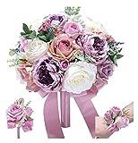 WANGQW Boda Ramo romántico Flores Artificiales, Ramo de Novia Ramo de Boda Artificial Marfil y Blush Pink Toon Purple Peony Flower Boda Seda Decoración de la Boda (Color : 3pcs Set Purple)