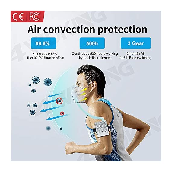 4WDKING Portable Air Purifier with 12 Pcs Replacement 5-Ply, Rechargeable Reusable Wearable Personal Electrical Air… 2 Supplied fresh air respirator system is equipped with portable power sources mainly overcome the problems of big air intaking resistance, difficulties in breathing, and so on. Unique electronic ventilation design system, to keep the fresh air flowing through your nose and mouth, suitable for long time use With filter function,99.9% filter effect with Japan H13 high quality material filters