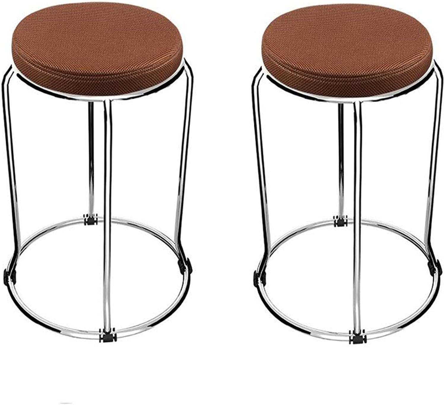 YCSD Simple Stainless Steel Stool Dining Stool Cloth Small Stool Reinforced Thick Mesh Stool Stackable Low Stool (color   Coffee color)