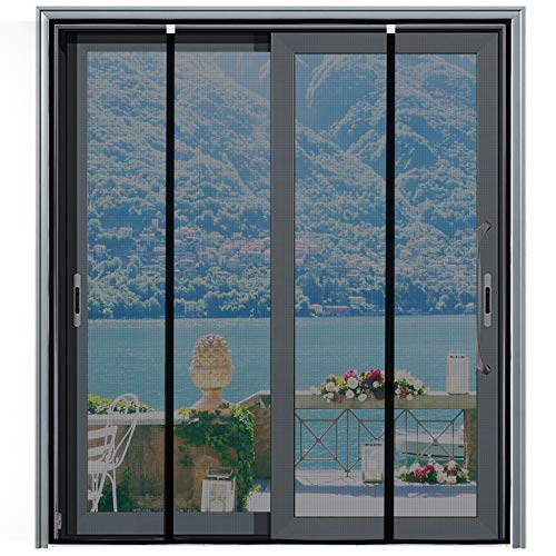 [Upgraded Version] Magnetic Screen Door 72'x81', Homitt Durable Fiberglass Mesh Curtain, Magnet Patio Door with Full Frame Hook & Loop, Auto Closer Fits Door Size up to 70'x80' Max- Black