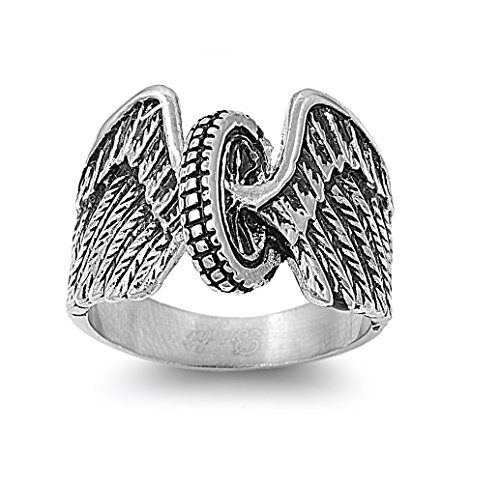 CloseoutWarehouse Stainless Steel Wheel and Wings Biker Ring Size 15