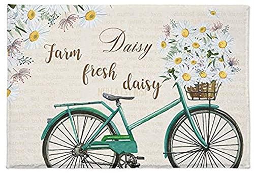 Zerbino a forma di margherita con bicicletta morbido e assorbente, tappetino da bagno, motivo floreale, verde, antiquariato, antiscivolo, per camera da letto, soggiorno e bagno (45 x 80 cm)