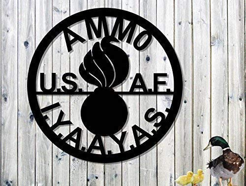 US Air Force AMMO Metal Sign Steel Sign 23 x 23 Inches LARGE SIGN Unique Fathers Day Gift IYAAYAS