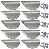 Aerzetix Adour - Set di maniglie in metallo, per cassetti, porte, mobili, armadi, 32 mm, colore: argento opaco, 10 pz.