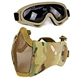 Aoutacc Airsoft Protective Gear Set, Half Face Mesh Masks with Ear Protection and Goggles Set for CS/Hunting/Paintball/Shooting (CP)