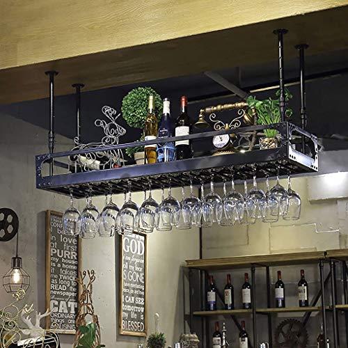 Weinregale Weinbecher Halter Federung Retro Dekoration Weinregale Bar Becher Halter Wine Cup Halter Becher Rahmen Wein Glasgestell Dekoregal Regal (Color : Black, Size : 120 * 35cm)